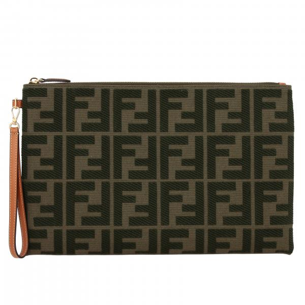 Pochette Fendi grande in canvas con monogramma FF all over