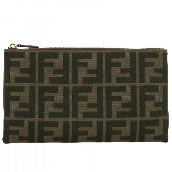 Pochette Fendi media in canvas con monogramma FF all over