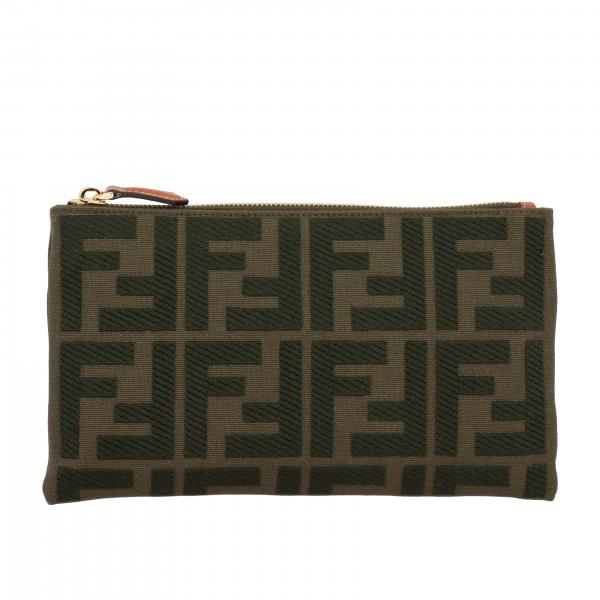 Pochette Fendi small in canvas con monogramma FF all over