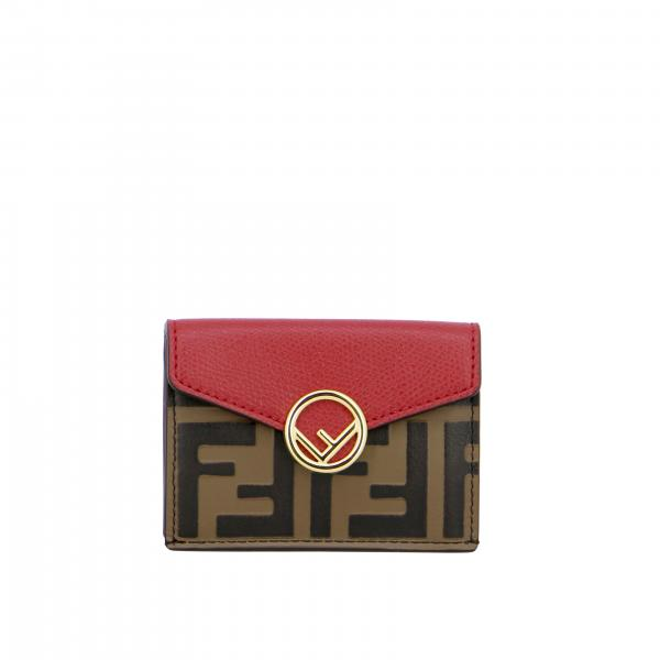 Fendi continental wallet in leather with embossed FF monogram