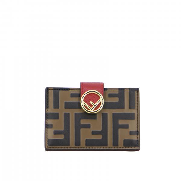 Porta carte di credito Fendi in pelle monogramma FF embossed