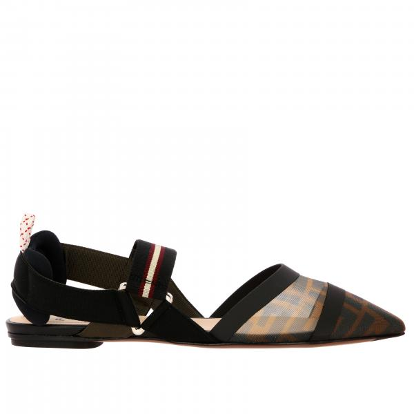 Fendi Pointed ballet flat in mesh with FF print