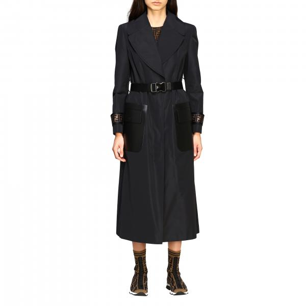 Fendi long trench coat with FF bands and leather pockets