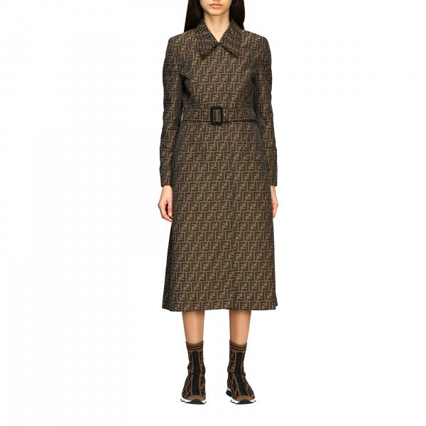 Trench Fendi lungo in canvas con monogramma FF all over