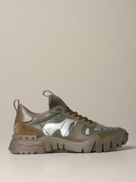 Valentino Garavani Rockrunner plus sneakers in leather and camouflage fabric