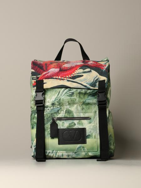 Valentino Garavani: Valentino Garavani backpack in red dragon print canvas