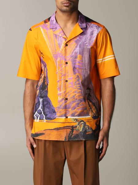 Shirt valentino short-sleeved shirt with yellow city print Valentino - Giglio.com