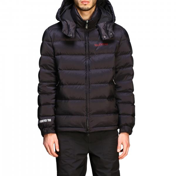 Valentino down jacket with removable hood and logo