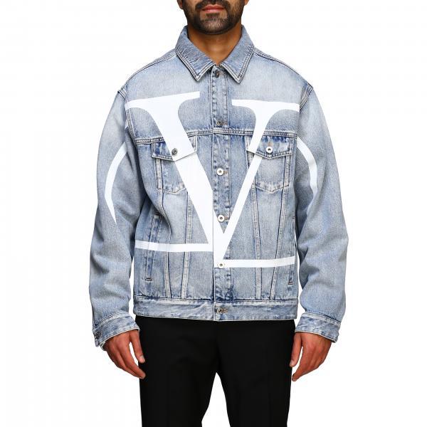 Giacca di jeans Valentino in denim used con maxi Vlogo