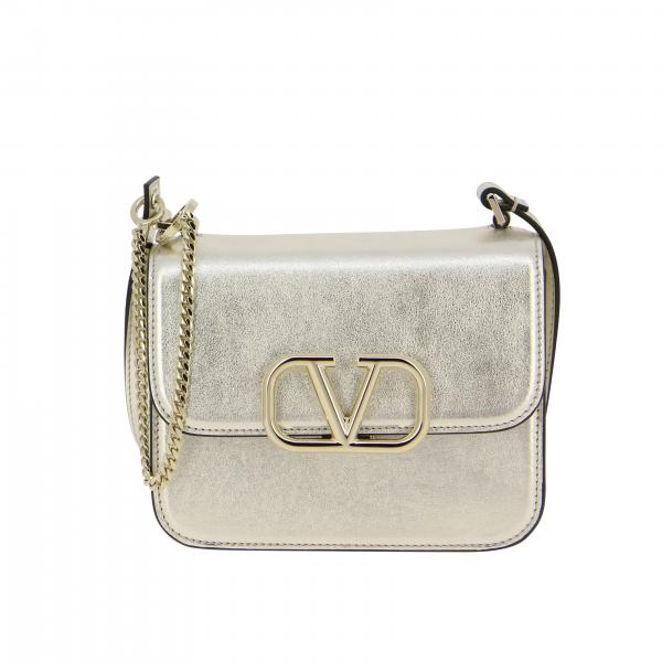VLogo small shoulder bag in laminated leather