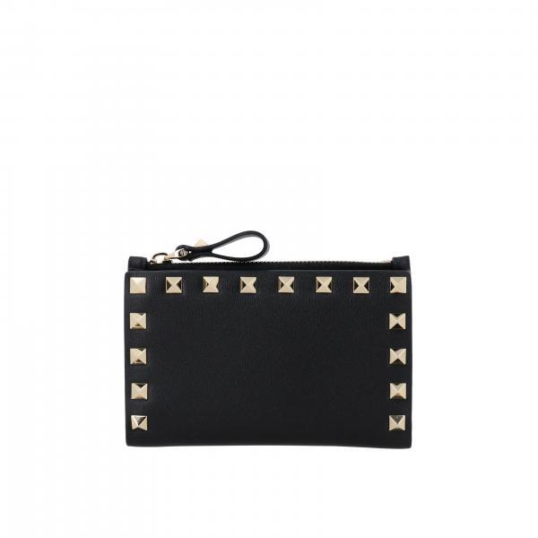 Portafoglio Rockstud Valentino Garavani mini in pelle con borchie