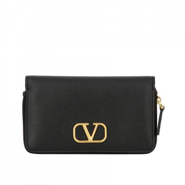 Valentino Garavani VLogo Geldbörse aus strukturiertem Leder