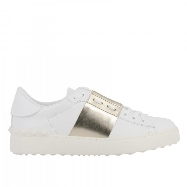 Valentino Garavani open sneakers in laminated leather with band