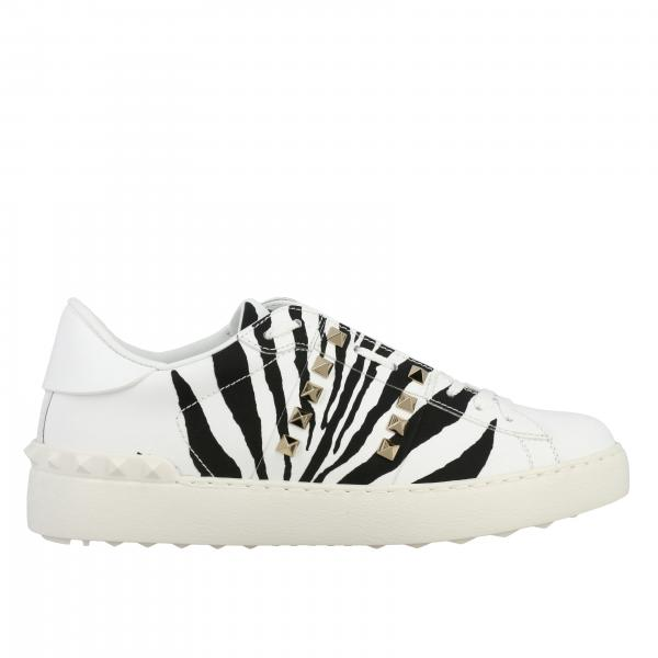 Valentino Garavani Rockstud untitled sneakers in zebra print leather