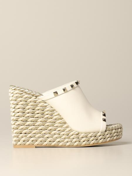 Valentino Garavani leather Rockstud wedge sandal