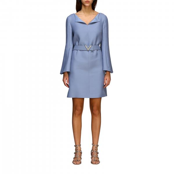 Valentino crepe couture dress with belt and V logo