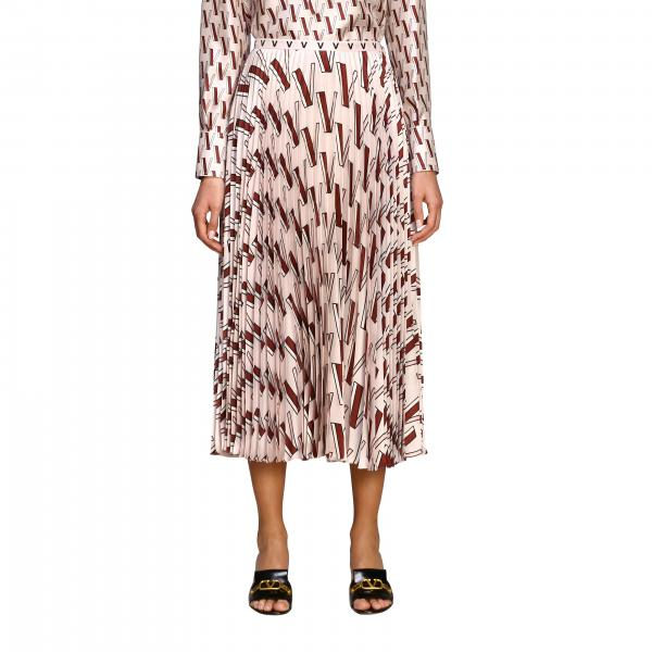 Valentino pleated silk skirt with all-over V logo
