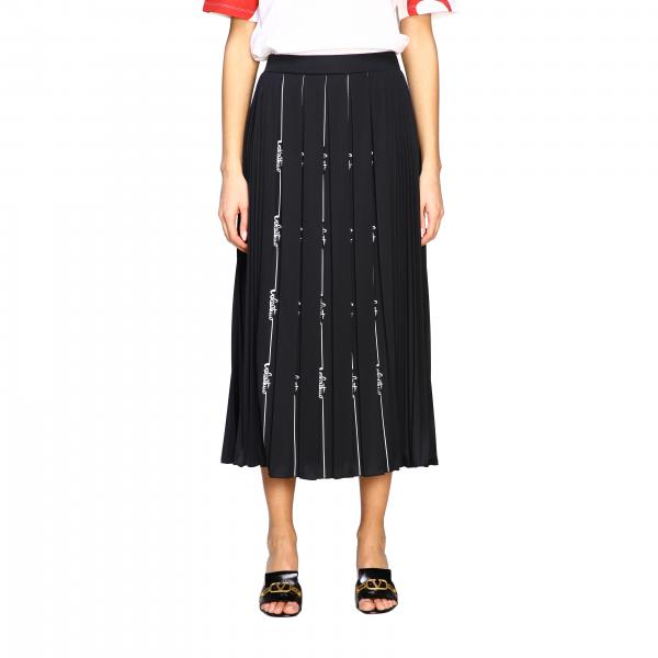 Valentino pleated jersey skirt with logo
