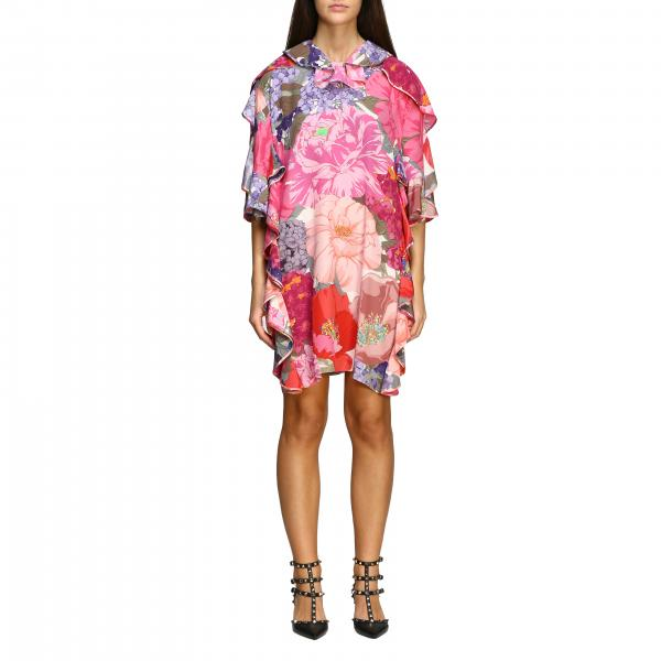 Valentino crepe de chine dress with mix flowers print