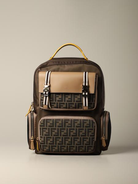 Fendi backpack in nylon leather and logoed canvas