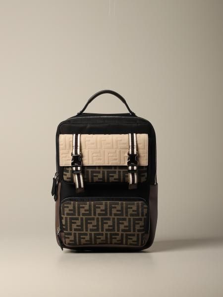 Fendi backpack in nylon and logoed canvas