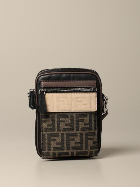 Fendi shoulder bag in nylon and logoed fabric