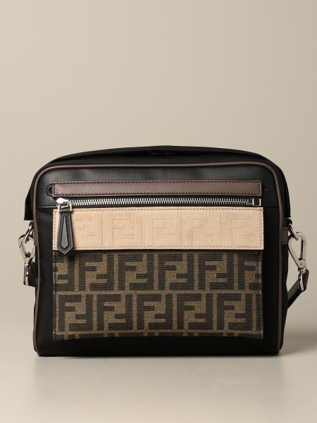 Fendi Mini messenger bag in nylon and logoed canvas