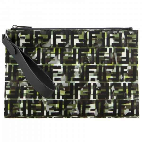 Fendi camouflage canvas clutch bag with FF monogram all over