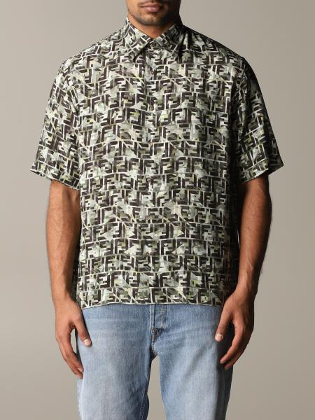 Fendi short-sleeved shirt in jersey with FF camouflage print