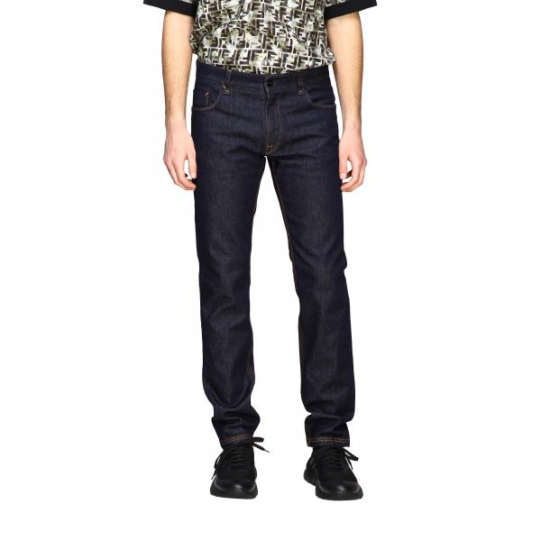 Fendi denim jeans with all-over FF pocket