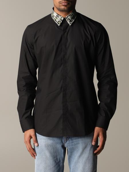 Camicia Fendi in popeline con collo FF camouflage