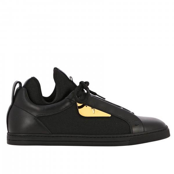 Fendi sneakers in leather and canvas with metallic eye