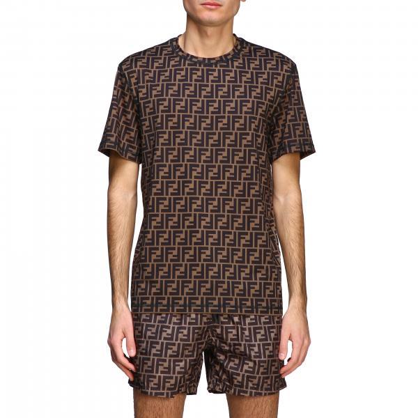 T-shirt Fendi a maniche corte con monogramma FF all over