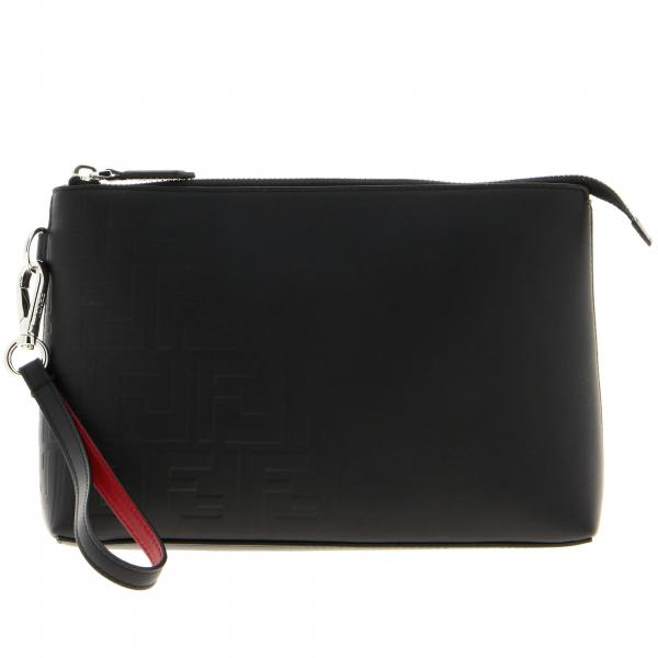 Pochette Fendi in pelle liscia con monogramma FF embossed all over