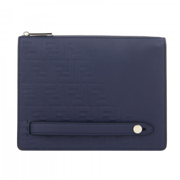 Pochette en cuir Fendi avec monogramme FF en relief all over