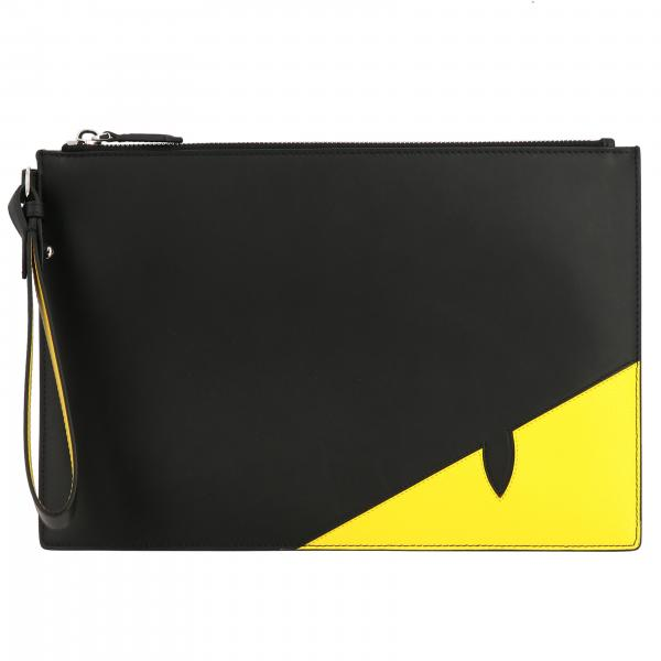 Fendi Leder Clutch Bag mit Bugs