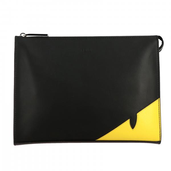 Fendi leather clutch bag with Bugs in the corner