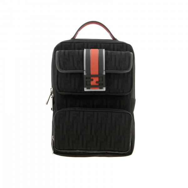 Fendi mesh backpack with all-over FF monogram and rubber buckle