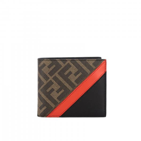 Fendi leather wallet with all over FF print and band