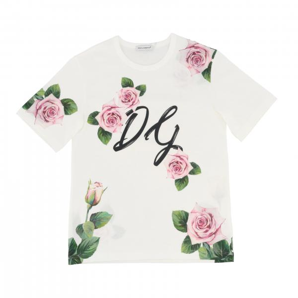 Dolce & Gabbana short-sleeved T-shirt with floral print and DG logo