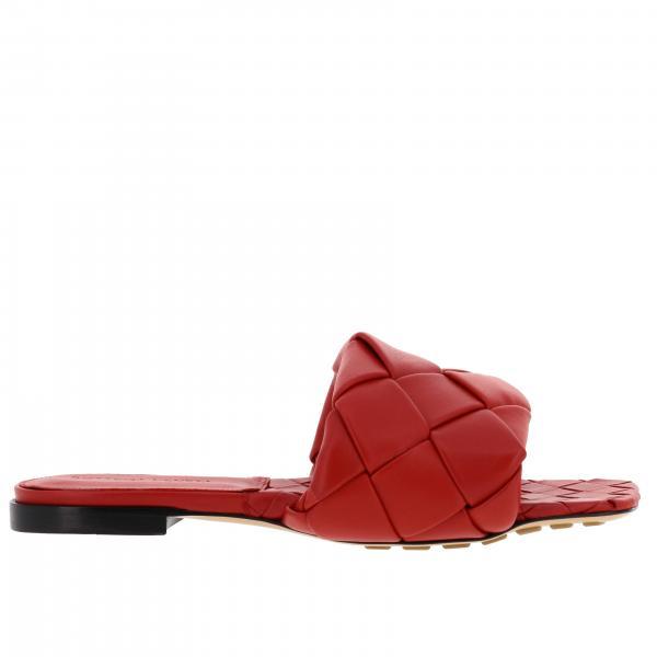 Sandalo flat Bottega Veneta in pelle con maxi intreccio