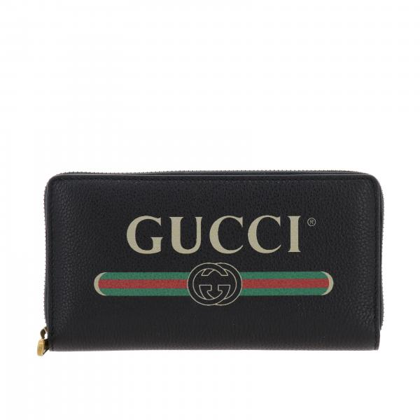 Gucci Print wallet in grained leather with logo