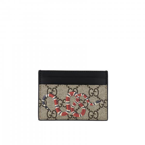 Porta carte di credito Bestery Gucci in pelle GG Supreme con Serpente