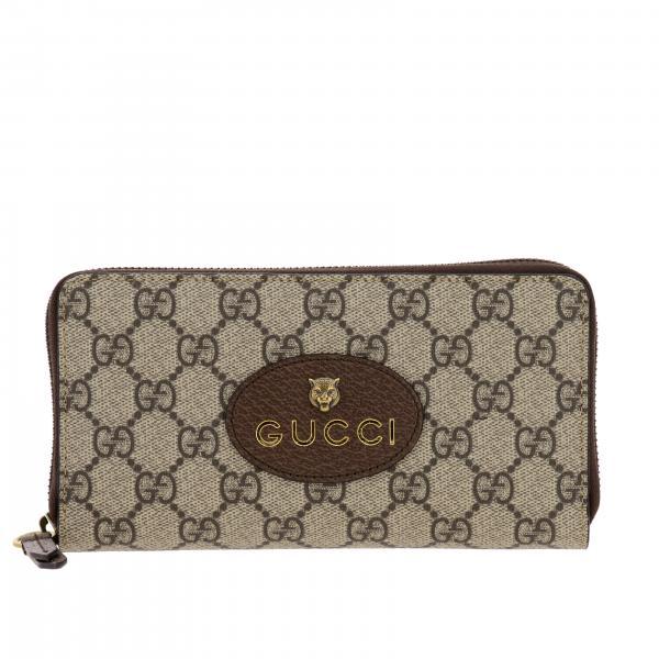 Portafoglio Neo vintage Gucci in pelle GG Supreme con tigre