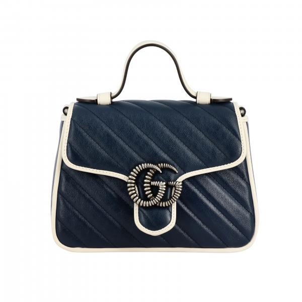 Borsa GG Marmont Gucci in pelle chevron con piping