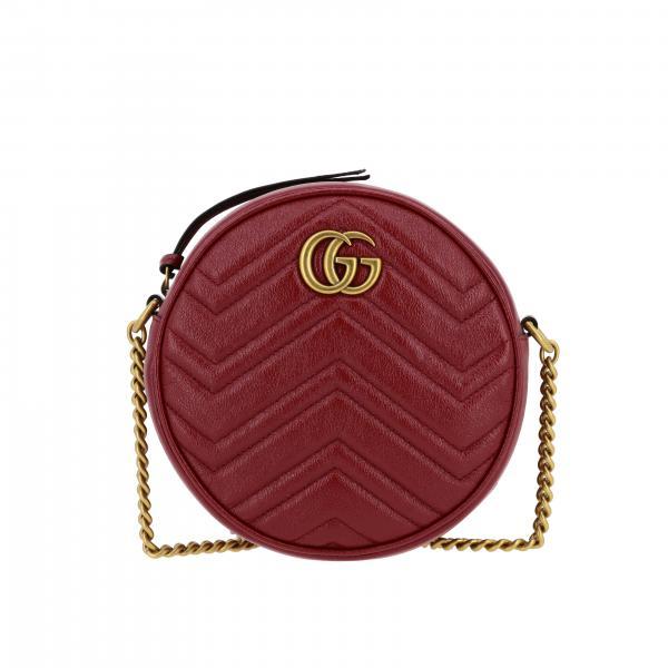 Borsa a tracolla Marmont Gucci disco bag in pelle chevron