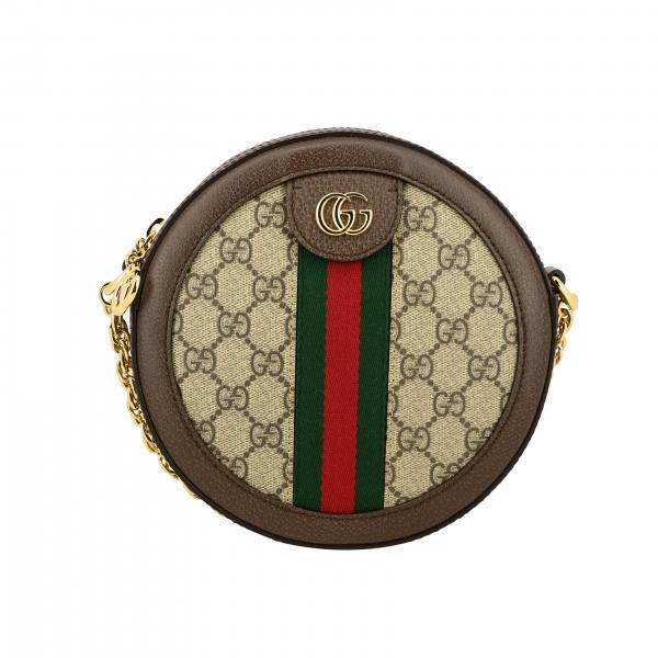 Borsa a tracolla Ophidia Gucci disco bag in pelle GG Supreme