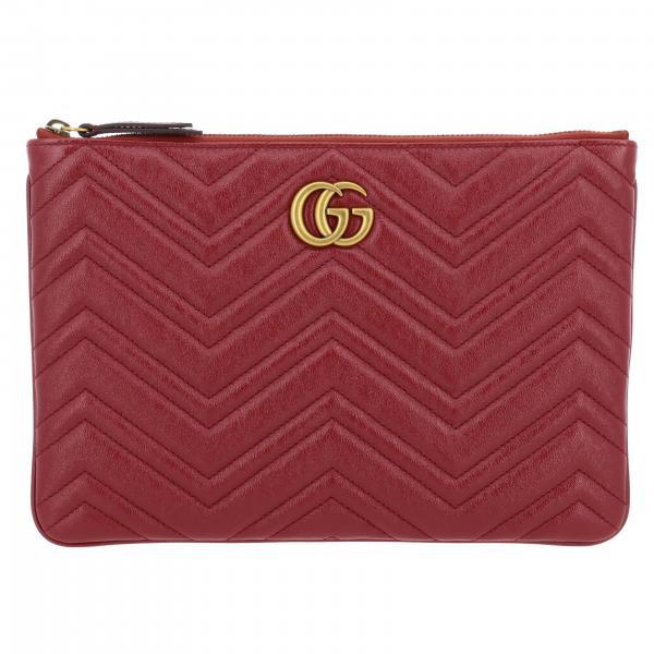 Pochette Marmont Gucci in pelle chevron con monogramma