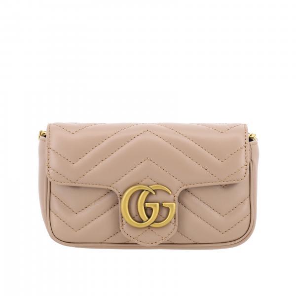 Borsa a tracolla Marmont Gucci in pelle chevron con monogramma
