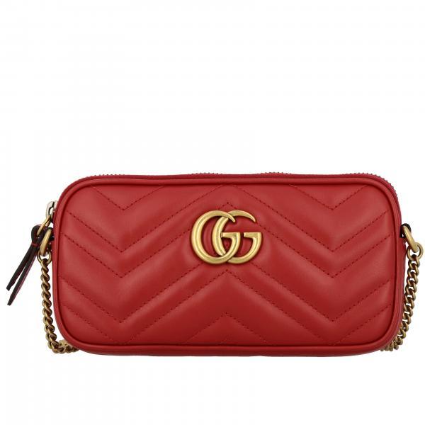 Bolso GG Marmont Gucci de cuero genuino de chevron
